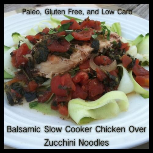 Balsamic Slow Cooker Chicken Over Zucchini Noodles