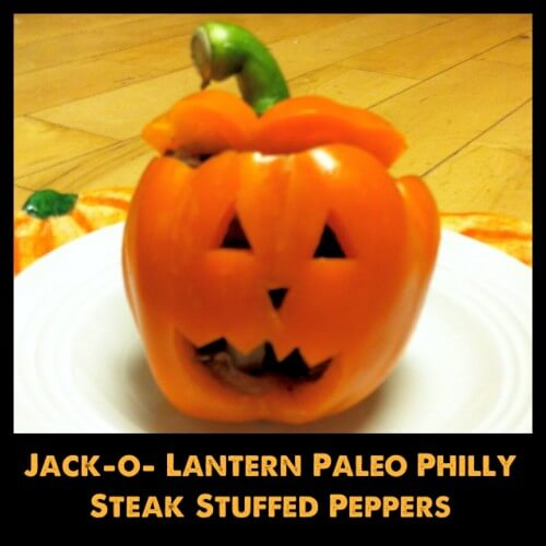 Cutest Halloween Dinner - Jack-o-lantern Philly Steak Stuffed Peppers