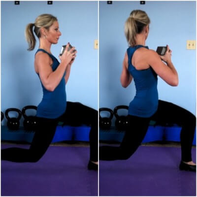LUNGE WITH ROTATIONGrab a dumbbell by the ends and step forward into a lunge position. Twist from your waist as far as you can go towards that forward knee. Come back up and repeat with the other leg. Remember to keep your hips forward as you twist.
