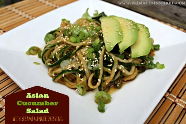 Asian Cucumber Salad with Sesame Ginger Dressing
