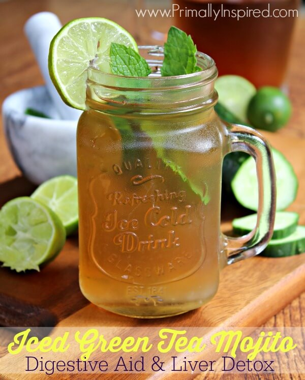 Iced Green Tea Mojito recipe from Primally Inspired - A Digestive Aid and Liver Detox