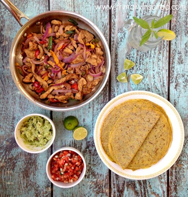 Easy Skillet Chicken Fajitas from Primally Inspired (with grain free tortillas!!)