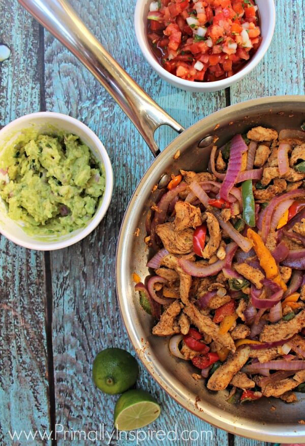 Easy Skillet Chicken Fajitas from Primally Inspired