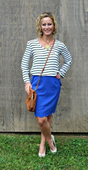 October Stitch Fix Review from Primally Inspired  Fun2Fun Sheridan Striped V-Neck Tab Sleeve Blouse with Brixon Ivy Heidi Scallop Hem Pencil Skirt and Emperia Kacie Half Flap Crossbody Bag