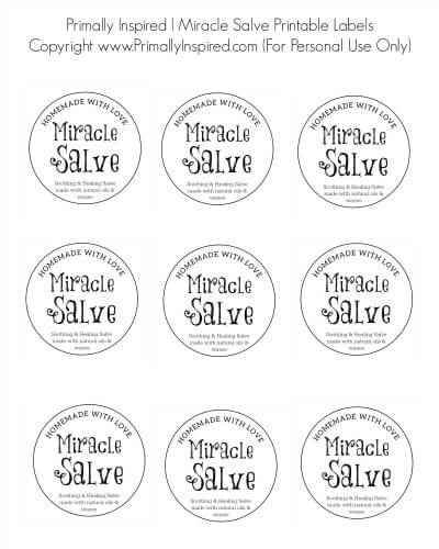 MIracle Salve Free Printable Labels