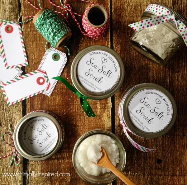 Sea Salt Scrub Recipe from Primally Inspired with Free Printable Labels