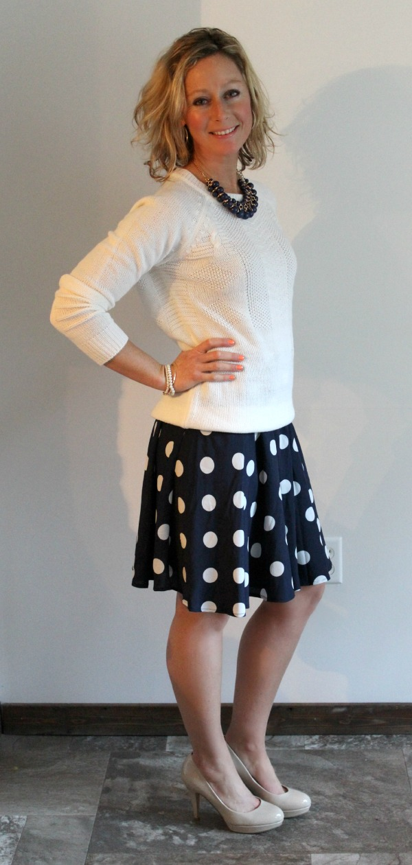 Stitch Fix Review  Tiffany Textured Crew Neck Sweater with Polka Dot Skirt