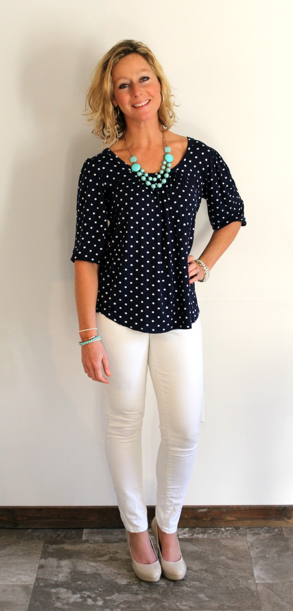 Stitch Fix Review  Tracy Dot Print Cross Back Knit Top (Primally Inspired)