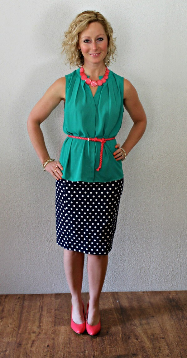 Collective Concepts Esten Button-Up Sleeveless Blouse and Pixley June Polka Dot Skirt