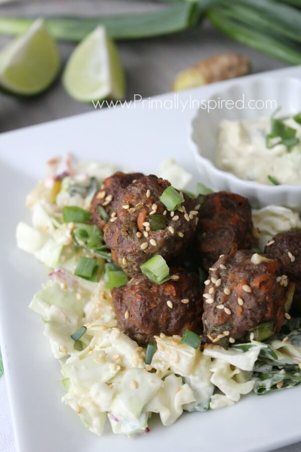 Pineapple Sesame Meatballs from Primally Inspired (Paleo, Gluten Free)