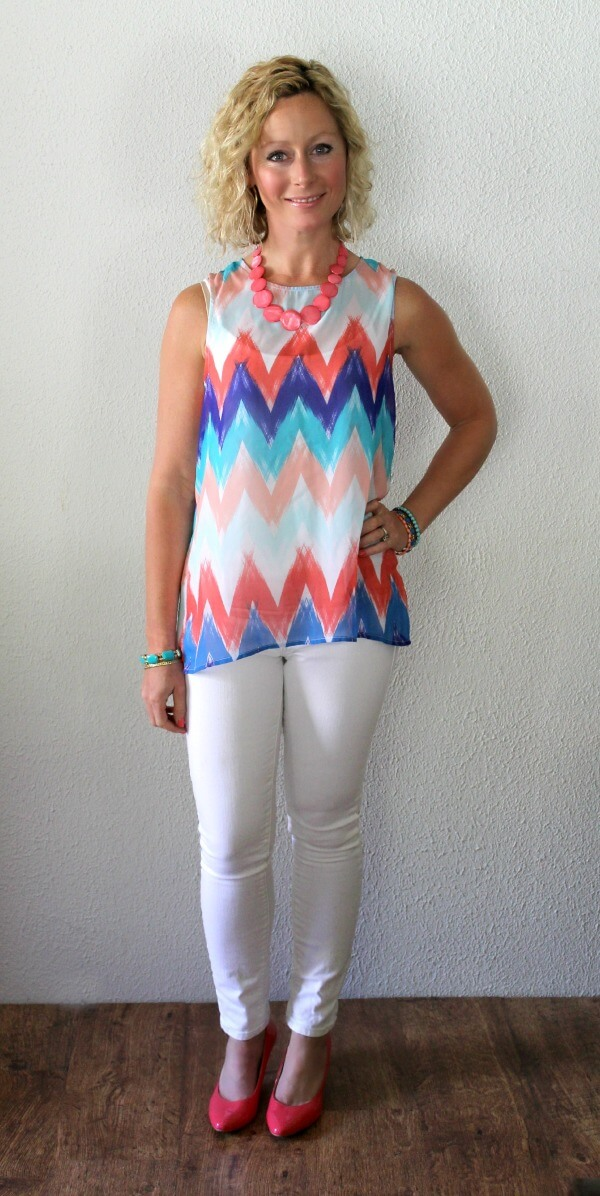 May Stitch Fix Review - Olive & Oak Arynn Tie-Back Chevron Print Tank with Stitch Fix Mavi White Denim  Primally Inspired