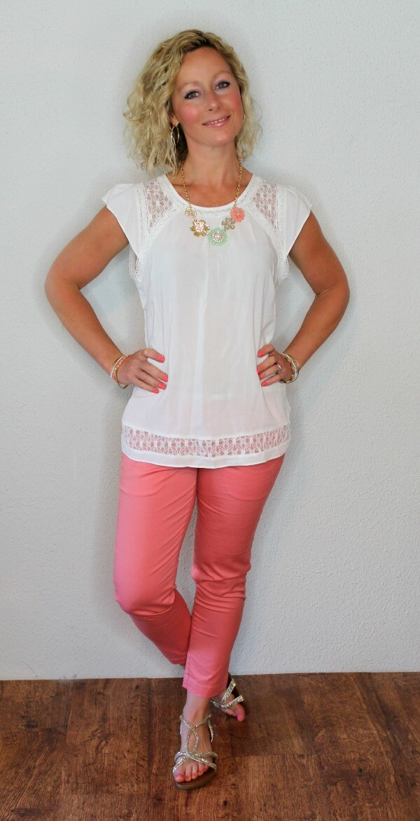May Stitch Fix Review - Skies are Blue Topanga Crochet Detail Flutter Sleeve Blouse and Kut From the Kloth Siena Capri Pant  Kelly from Primally Inspired