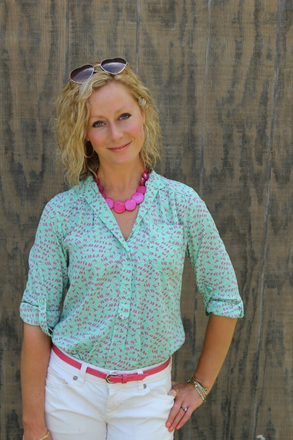 June Stitch Fix Review - Pixley Colibri Bird Print Tab-Sleeve Blouse  Kelly from Primally Inspired #stitchfix