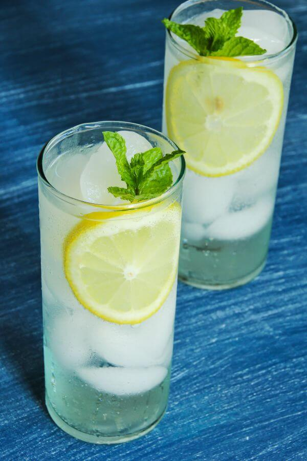 Healthier Alternatives to Soda -- sparkling water with lemon and honey
