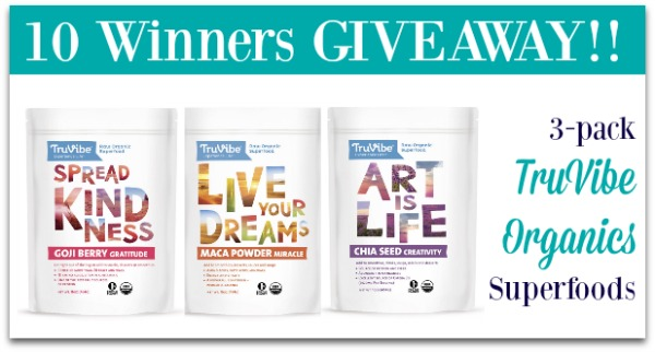 TruVibe Giveaway Organic Superfoods with inspiration