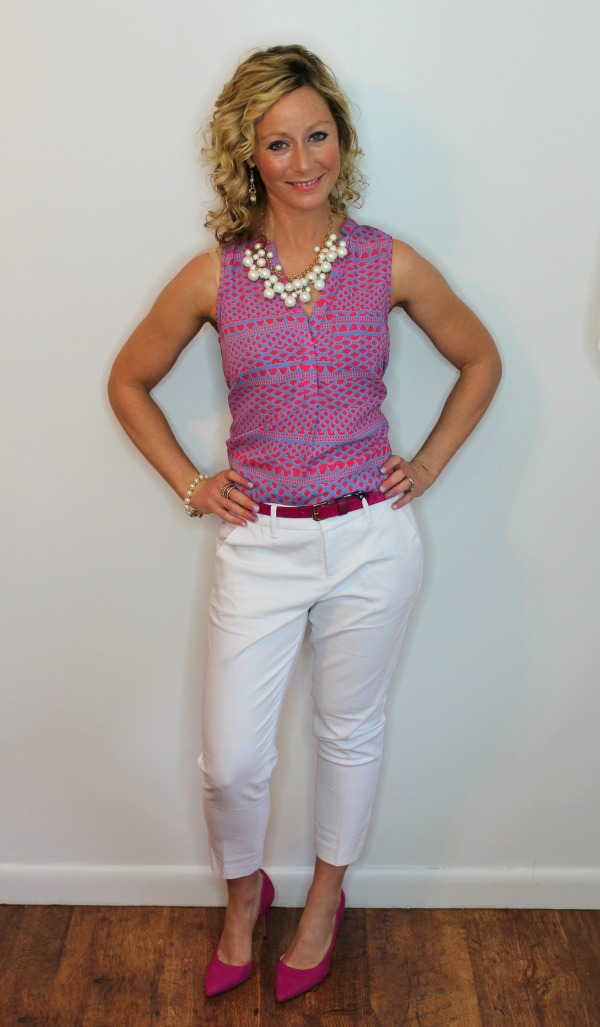 Papermoon Norris Split Neck Blouse and Liverpool William Straight Leg Trouser