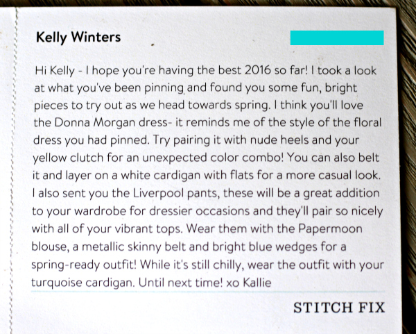 March Stitch Fix Stylist Note