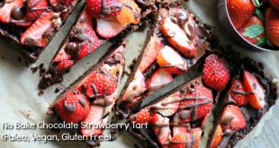 No Bake Chocolate Strawberry Tart. Easy to make and so decadent and delicious - perfect for chocolate lovers! Vegan, Gluten Free and Paleo Friendly recipe.